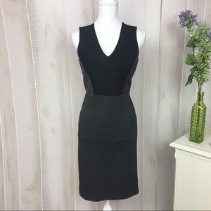 Loft Grey Burgundy Colorblock Fitted Career Dress